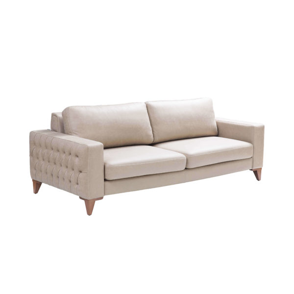 asya 2 or 3-seater sofa light cream colour modern chesterfield design on sides