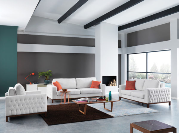 asya sofa set one-seater two-seater three-seater anti-bacterial chesterfield style contemporary modern fabric